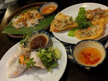 Spring Rolls, Crab Wontons, and White Rose at Morning Glory Restaurant in Hoi An