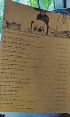 Page of a Menu at Quan Restaurant in Saigon