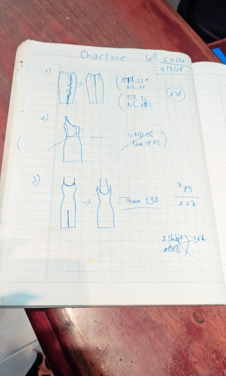 Sketch of My Custom Pieces Done by Tea at Kimmy Custom Tailor in Hoi An